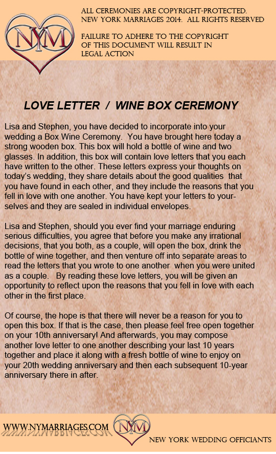 Sample Love Letter Wine Box Ceremony  Unique Wedding Ceremony